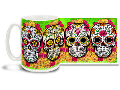 Bright and cheery green theme, pretty flowers and four different vivid sugar skulls make this Day of the Dead skull mug a keeper! Skulls coffee mug is durable, dishwasher and microwave safe.