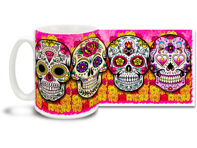 Bright and fun pink theme, pretty flowers and four different vivid sugar skulls make this Day of the Dead skull mug a keeper! 15oz skulls coffee mug is durable, dishwasher and microwave safe.
