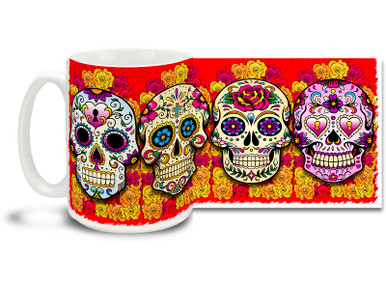 Bright and fun red theme, pretty flowers and four different vivid sugar skulls make this Day of the Dead skull mug a keeper! Skulls coffee mug is durable, dishwasher and microwave safe.