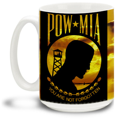 Show your pride in the United States Military with this design honoring United States military personnel taken as prisoners of war (POWs) or listed as missing in action (MIA) on a vivid POW/MIA Coffee Mug. 15oz POW/MIA Mug is dishwasher and microwave safe.