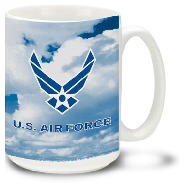 Show your pride in the United States Air Force with this Air Force Coffee Mug with approved emblem on blue sky background. 15oz USAF Mug is dishwasher and microwave safe.