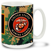 Show your pride in the United States Marine Corps with this Marines Coffee Mug approved crest and the Semper Fi Marine motto. 15oz USMC Mug is dishwasher and microwave safe.