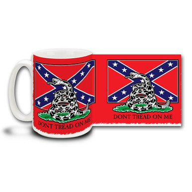 "Show your pride in Southern Heritage with this coffee mug featuring the Stars and Bars and the popular ""Dont Tread on Me"" slogan and snake from the Gadsden Flag. 15oz Confederate Flag and Gadsden Flag Mug is dishwasher and microwave safe. Get a Confederate Flag coffee cup."