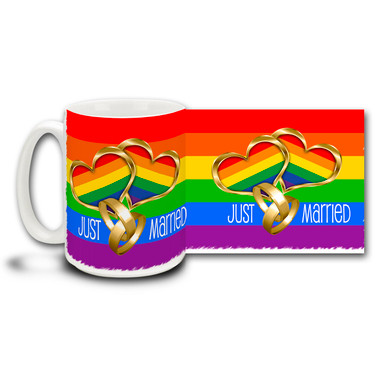 Rainbow Just Married celebrates LGBT lifestyles and marriage but anyone can drink out of it. Just like, well, anyone can get married! Rainbow colored Just Married 15oz coffee mug is dishwasher and microwave safe. Makes an awesome wedding keepsake, wholesale pricing only $5.25 each in orders of 36 or more! Call us at 800-551-6541 for more information or email cuppa@tampabay.rr.com. You kids look good together!