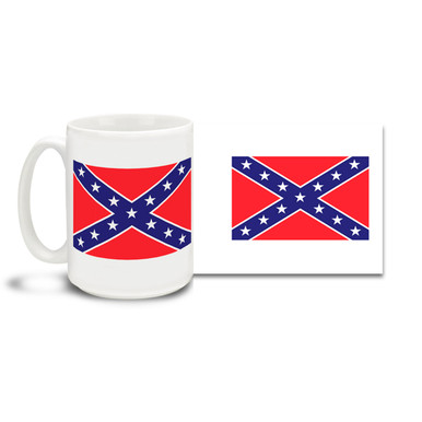 Show your pride in Southern Heritage with this coffee mug featuring the Stars and Bars Confederate Battle Flag. 15oz Confederate Flag Mug is durable, dishwasher and microwave safe. Get a Rebel Confederate Flag coffee cup.