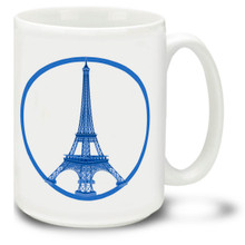 Paris Peace Blue - 15 oz Coffee Mug