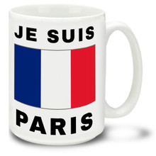 Je Suis Paris with France Flag - 15 oz Coffee Mug