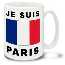 Je Suis Paris with France Flag - 15 oz Coffee Mug