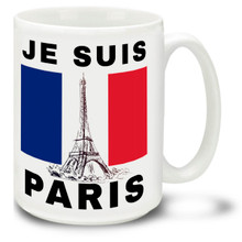 Je Suis Paris with Eiffel Tower - 15 oz Coffee Mug