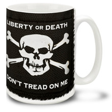 Show 'em you mean business with a Liberty or Death Don't Tread on Me mug with Skull and Crossbones! Liberty or Death mug on black is a good way to get your point across. 15-ounce ceramic Liberty or Death coffee mug has comfortable 4-finger handle.