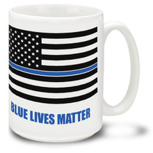 Police Officers and Law Enforcement Agents put their lives on the line daily, and their lives definitely matter! 15oz Blue Lives Matter with Flag Coffee Mug is durable, dishwasher and microwave safe.