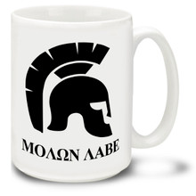 MOΛΩN ΛABE (Molon Labe) with Spartan Helmet - 15 oz. Mug