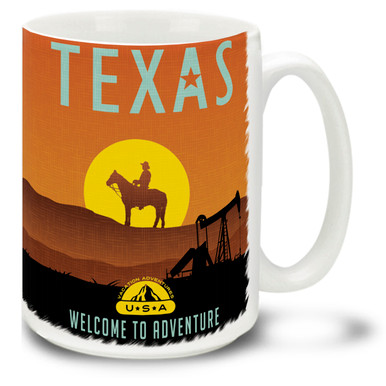 Show your love for Texas while you have your coffee in this Texas adventure themed coffee mug! The Texas adventure mug is  dishwasher and microwave safe and is sure to be a favorite!