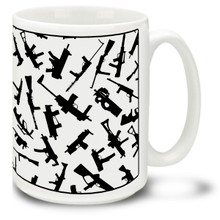 Enjoy your coffee while showing your love for guns with this Silhouettes of sub machine guns mug! The 15-ounce ceramic Silhouettes of sub machine guns coffee mug has a comfortable 4-finger handle and is dishwasher and microwave safe.