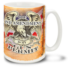 Support the Second Amendment with our 2nd Amendment Is My Gun Permit coffee mug. This Second Amendment mug shows how you feel about the right to keep and bear arms! 15oz Mug is durable, dishwasher and microwave safe.