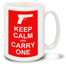 This Keep Calm and Carry One coffee mug is styled after the classic British WWII poster. This Second Amendment mug shows how you feel about open carry and the right to keep and bear arms! 15oz Mug is durable, dishwasher and microwave safe.