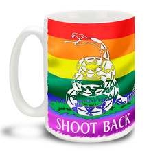 Show your support for the freedoms that have made this country great and let them know nobody's going to hurt our family with this 15 oz Rainbow Gadsden Flag Shoot Back Coffee Mug. Colorful 15oz LGBTQ themed mug in support of the 2nd Amendment is dishwasher and microwave safe.