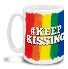 Show your support for the freedoms that have made this country great and let them know nobody's going to make us afraid to be ourselves with this 15 oz Keep Kissing Coffee Mug. Colorful 15oz LGBTQ themed mug in support of the Orlando shooting victims is dishwasher and microwave safe. #keepkissing