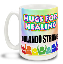 Show your support for the freedoms that have made this country great and let them know nobody's going to make us afraid to be ourselves with this 15 oz Hugs for Healing Coffee Mug. Colorful 15oz LGBTQ themed mug in support of the Orlando shooting victims is durable, dishwasher and microwave safe. #hugsforhealing #orlandostrong
