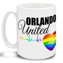 Show your support for the freedoms that have made this country great and let them know we've got each others' backs with this 15 oz Orlando United Coffee Mug. Colorful 15oz LGBTQ themed mug in support of the Orlando shooting victims is dishwasher and microwave safe. #orlandounited