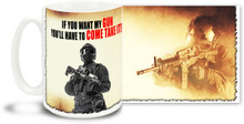 Enjoy your coffee while showing your views on gun control with this If you want my gun mug! The 15-ounce ceramic If you want my gun coffee mug has a comfortable 4-finger handle and is dishwasher and microwave safe.