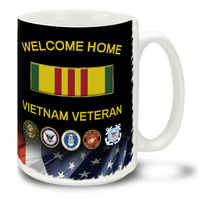 Those Who Served deserve everyone's Honor, Respect and Thanks! Welcome Home, Vietnam Veteran. Service medal with branch insignia and American Flag background makes a great Veteran coffee mug. This Vietnam Veteran's mug is dishwasher and microwave safe.