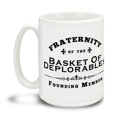 Too proud not to wear an insult as a badge of honor, Donald Trump supporters are a special breed! This All-American Donald Trump Fraternity of the Basket of Deplorables mug is durable, dishwasher and microwave safe. Big 15-ounce ceramic coffee mug has comfortable 4-finger handle.