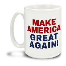 Donald Trump supporters are a special breed! Get ready to Make America Great Again with this durable, dishwasher and microwave safe Red, White and Blue Donald Trump mug . Big 15-ounce ceramic coffee mug has comfortable 4-finger handle.