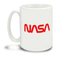 """Get your retro space groove on with a nice cup of coffee in hand with this NASA classic red """"worm"""" logo mug. Durable, dishwasher and microwave safe big 15-ounce ceramic coffee mug with comfortable 4-finger handle."""