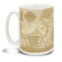 Let this lucky elephant get your day started right! This mug is a fun way to dunk your doughnuts in coffee! 15oz Lucky Champagne Gold Elephant coffee mugs are durable, dishwasher and microwave safe.