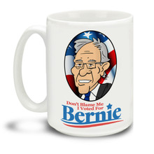 Never give up the good fight with this Don't Blame Me I Voted For Bernie mug. Durable, dishwasher and microwave safe big 15-ounce Bernie Sanders ceramic coffee mug with comfortable 4-finger handle. #berniewouldhavewon #berniesanders #bernie2020 #dontblameme #notmypresident