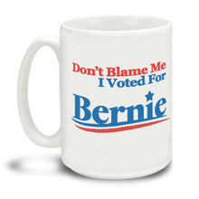 Never give up the good fight with this Don't Blame Me I Voted For Bernie logo mug. Durable, dishwasher and microwave safe big 15-ounce Bernie Sanders logo ceramic coffee mug with comfortable 4-finger handle. #berniewouldhavewon #berniesanders #bernie2020 #dontblameme #notmypresident
