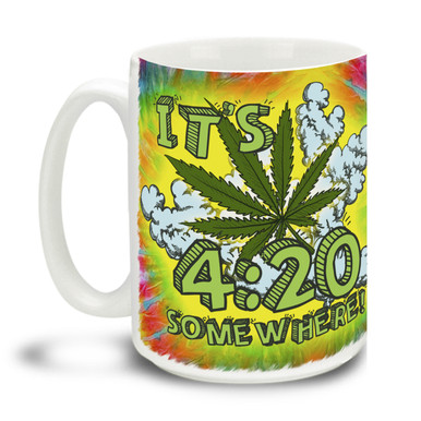 Lively yourself up, It's 4:20 Somewhere! Delightful marijuana theme makes this the perfect leisure-time mug. Durable, dishwasher and microwave safe big 15-ounce ceramic coffee mug with comfortable 4-finger handle.