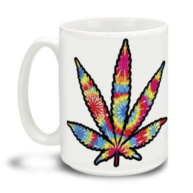 Lively yourself up and take little trip with this psychedelic Tie-Dye Sativa Leaf. Delightful marijuana theme makes this the perfect leisure-time mug. Durable, dishwasher and microwave safe big 15-ounce ceramic coffee mug with comfortable 4-finger handle.