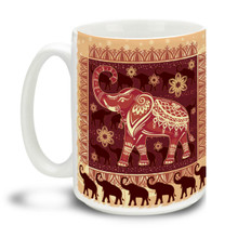 Let these lucky elephants get your day started right! This plentiful pachyderm mug is a fun way to dunk your doughnuts in coffee! Durable, dishwasher and microwave safe big 15-ounce ceramic coffee mug with comfortable 4-finger handle.