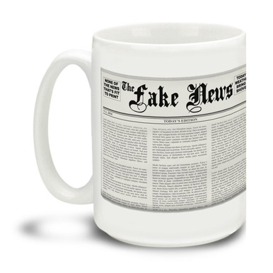 Wild and wacky media ramblings making you crazy? Show them you're in the know with this durable, dishwasher and microwave safe Fake News with Newspaper mug . Big 15-ounce ceramic coffee mug has comfortable 4-finger handle.