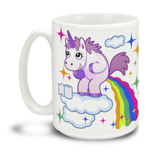 Get a little magic all over the floor with this delightful Pooping Unicorn mug! This brightly colored magical themed mug is a fun way to dunk your doughnuts. Now you know where rainbows come from! Durable, dishwasher and microwave safe big 15-ounce ceramic coffee mug with comfortable 4-finger handle.