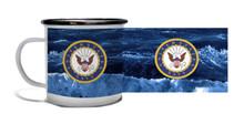 Navy Crest On Angry Sea - Metal Camp Mug