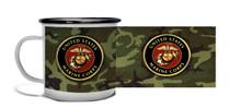 Marine Crest On Woodland - Metal Camp Mug