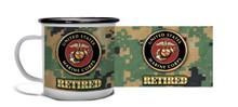Retired Marine Crest On MCU Camo - Metal Camp Mug