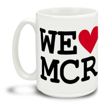 Show love for those who lost so much in such a senseless act. We Love Manchester with Heart and MCR city code durable, dishwasher and microwave safe big 15-ounce ceramic coffee mug with comfortable 4-finger handle. #manchester #roomformanchester #manchesterarena