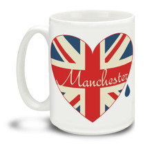 Show love for those who lost so much in such a senseless act of violence. Manchester British Flag in Heart with Teardrop is a durable, dishwasher and microwave safe big 15-ounce ceramic coffee mug with comfortable 4-finger handle. #manchester #roomformanchester #manchesterarena