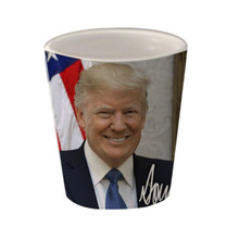 Donald Trump is the 45th President of the United States. Show your support with this durable, dishwasher and microwave safe Donald Trump President Official Portrait shot glass. Popular 2-ounce ceramic shot has great gift appeal. #Trump #GOP #2A #POTUS #MAGA
