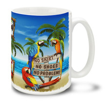 "Be at the beach always with this fun and colorful ""No Shirt No Shoes No Problem!"" mug with pretty and playful parrots ! 15oz coastal themed Coffee Mug features rich colors and is durable, dishwasher and microwave safe. Personalize it with your name for only $3 more!"