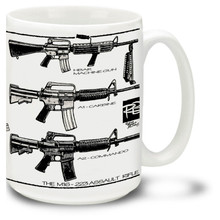 The U.S. Military version of the AR-15 Rifle, the M16 Rifle is adapted for semi-automatic, three-round burst, and full-automatic fire. The M16 rifle was the United States Army's standard service rifle of the Vietnam War. Get your M16 Rifle Coffee mug. Our M16 mugs are a full 15oz, dishwasher and microwave safe.