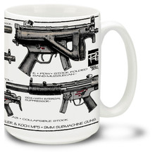 MP5 coffee mug. Heckler & Koch MP5 is an 9mm submachine gun popular among many military, law enforcement and other security organizations. One of the most widely used submachine guns on earth. 15oz MP5 Mug is durable, dishwasher and microwave safe.