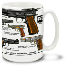 Browning Hi-Power Pistol Mug. The Browning Hi-Power is based on a design by inventor John Browning and has a magazine capacity of almost twice that of other contemporary pistols. Featuring art from famed firearms graphics artist, gun parts manufacturer and self-proclaimed adrenaline junkie Robert Burrows. 15oz Pistol Mug is durable, dishwasher and microwave safe.