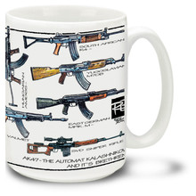 AK-47 Coffee Mugs. The AK-47 Assault Rifle is officially known as the Avtomat Kalashnikova. The AK-47 remains one of the most widely used and popular assault rifles in the world to this day, with more variations of this design produced than all other assault rifles combined. 15oz AK-47 Mug is durable, dishwasher and microwave safe.