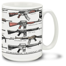 Get an assault rifle mug and have a selective fire rifle that can be used as an automatic, semi-automatic and burst fire weapon on your coffee mug. Featuring popular assault rifles such as the StG 44, AK-47, M16 rifle, QBZ-95, FAMAS, Heckler & Koch G36 and Enfield SA80.