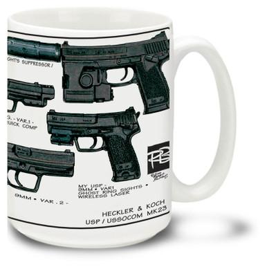 Heckler & Koch MK 23 and USP Coffee Mug. MK23 Mug is 15oz.